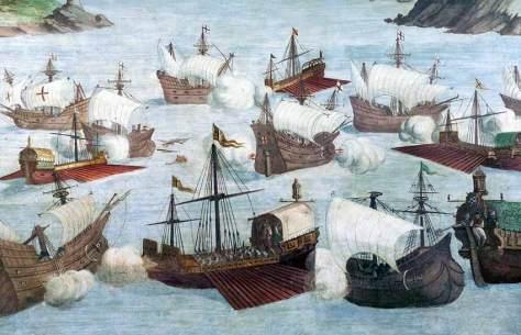 Apresamiento de ocho corsarios ingleses por cinco galeras españolas de Álvaro de Bázan en 1563