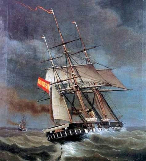 La fragata Gerona apresa al Tornado que había utilizado la táctica de la bandera falsa