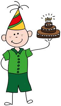 Chico con pastel de cumpleaños