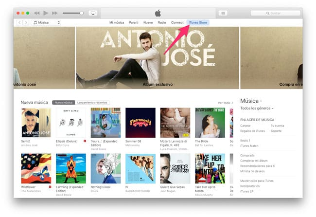 Acceder a iTunes Store