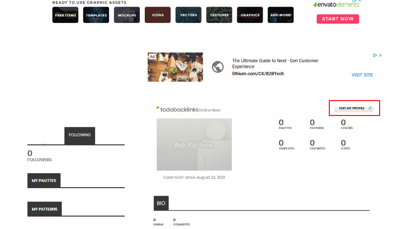 pantalla de perfil de colourlovers
