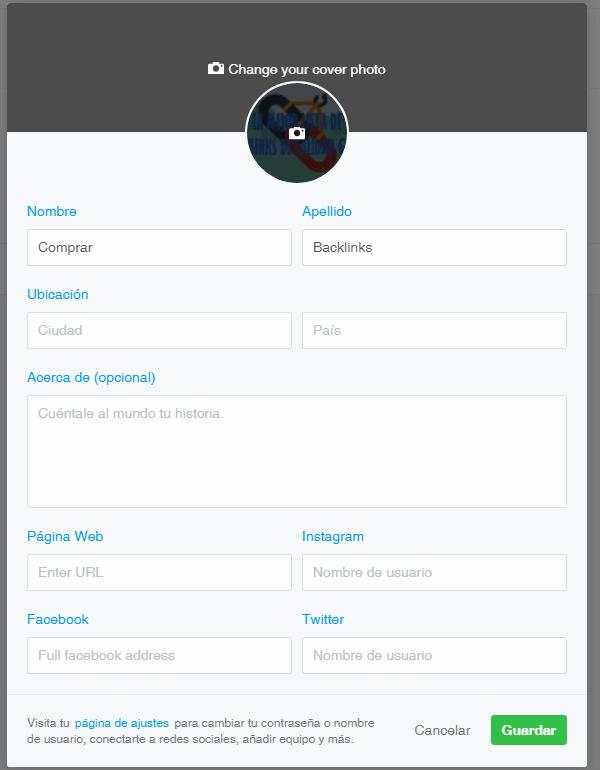 editar perfil de 500px