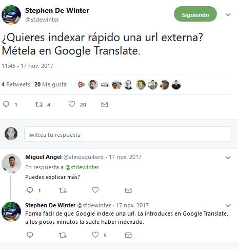 indexar una web con google translate