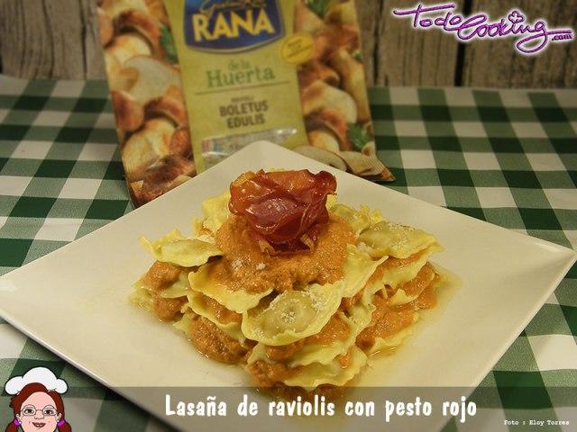 Lasaña Raviolis Rana Pesto Rojo raviolis de boletus