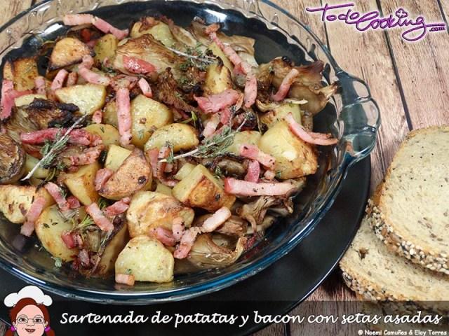 sartenada de patatas y bacon con setas - recetas con setas