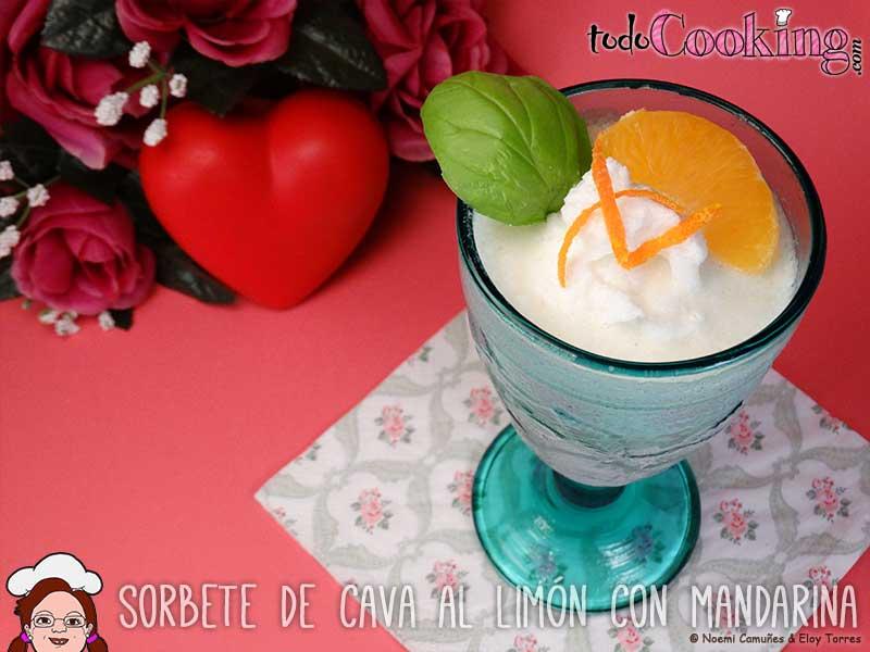 sorbete de cava al limón con mandarina