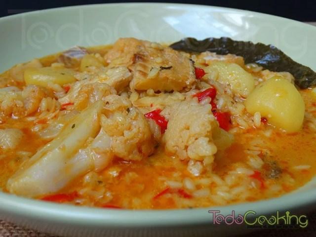Arroz con bacalao patata y coliflor