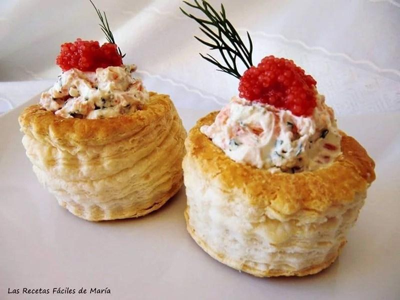 volovanes de queso y salmón ahumado