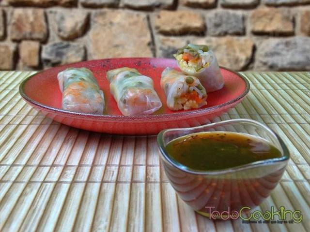 Rollitos Thai de verduras y langostinos