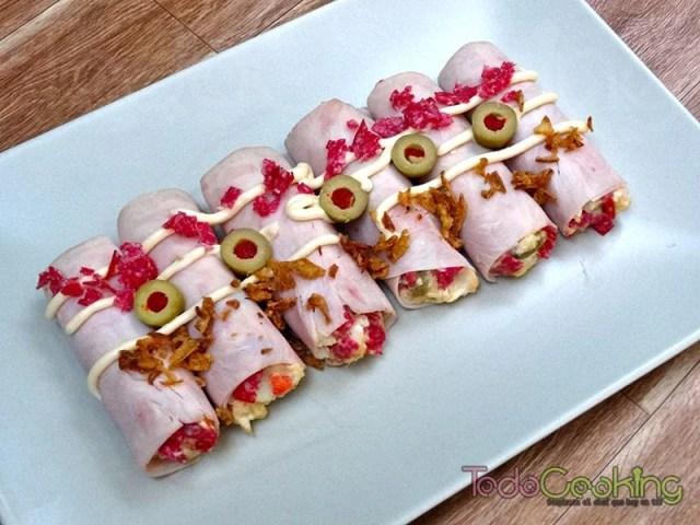 Canelones frios de pavo y salami