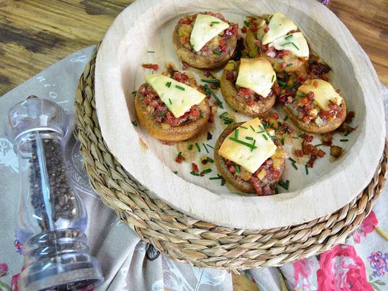 recetas fáciles de entrantes y primeros - champiñones rellenos de jamón