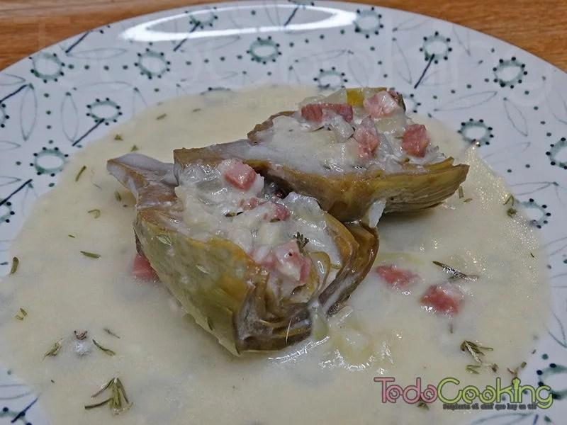 Alcachofas en salsa de tomillo y queso 04
