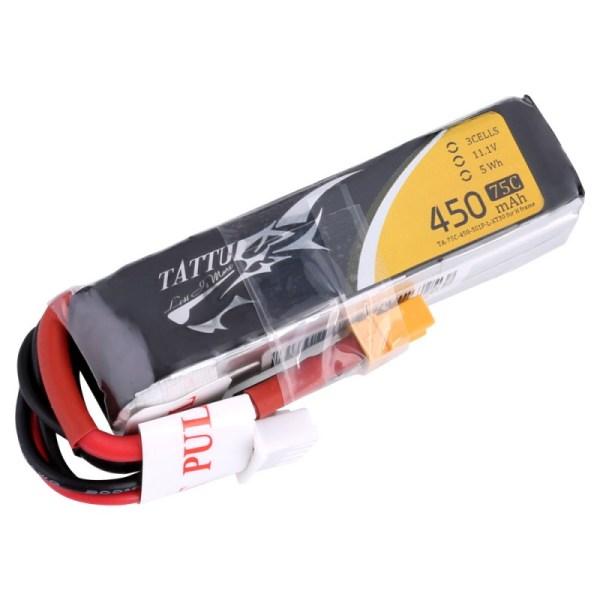 Tattu 450mAh 11.1V 75C 3S1P Lipo Battery XT30 (439)