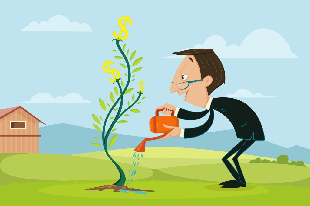 easy to edit vector illustration of businessman watering dollar plant