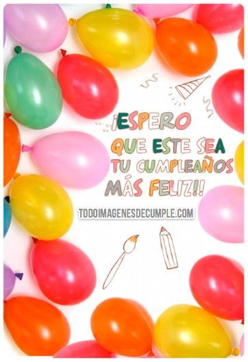 imagenes de feliz cumpleaños con globos y frases