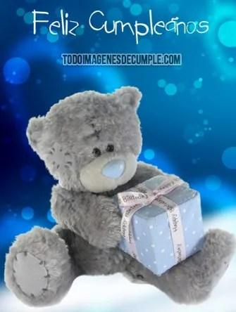 imagenes de feliz cumpleaños con osito y regalo