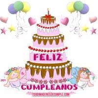 Imágenes de feliz cumpleaños con pastel y globos
