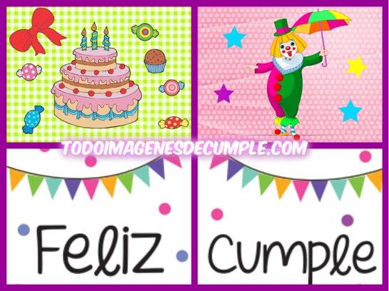 Imagenes de feliz cumple con dibujos de torta y payaso