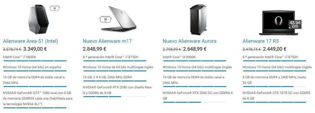 Algunos portatiles Dell rebajados en su zona outlet
