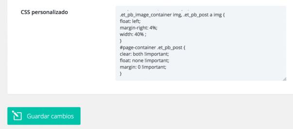 CSS personalizado en opciones Divi