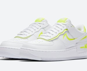 Nike Air Force 1 Shadow White With Volt Accents