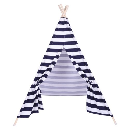 Children Teepee Tent With Small Coloured Flags Roller Shade And Pocket Blue And White Stripes