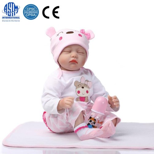 22″ Mini Cute Baby Toy In Hippo Pattern Clothes Pink