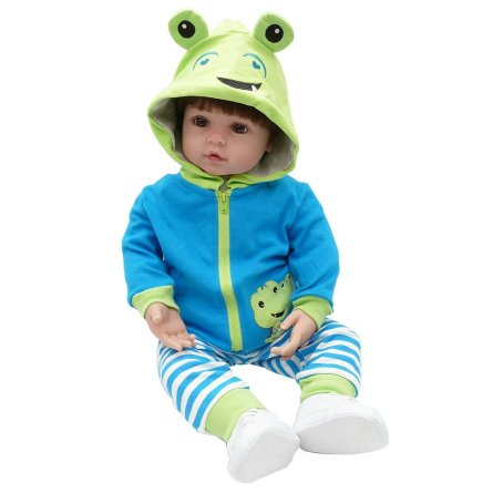 "24"" Beautiful Simulation Baby Girl in Frog Dress"