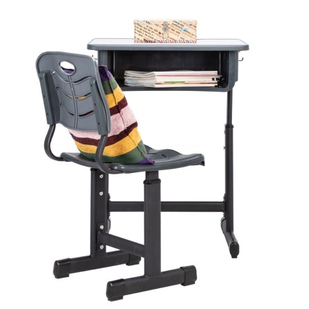 Adjustable Students Children Desk and Chairs Set Black