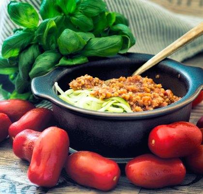 Abbildung von Grünkern Tomaten Bolognese