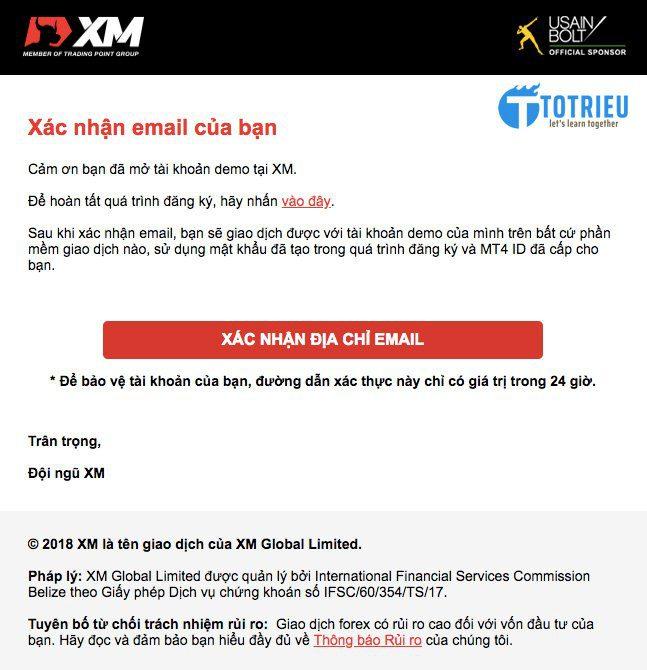Xác nhận địa chỉ email đăng ký tài khoản XM