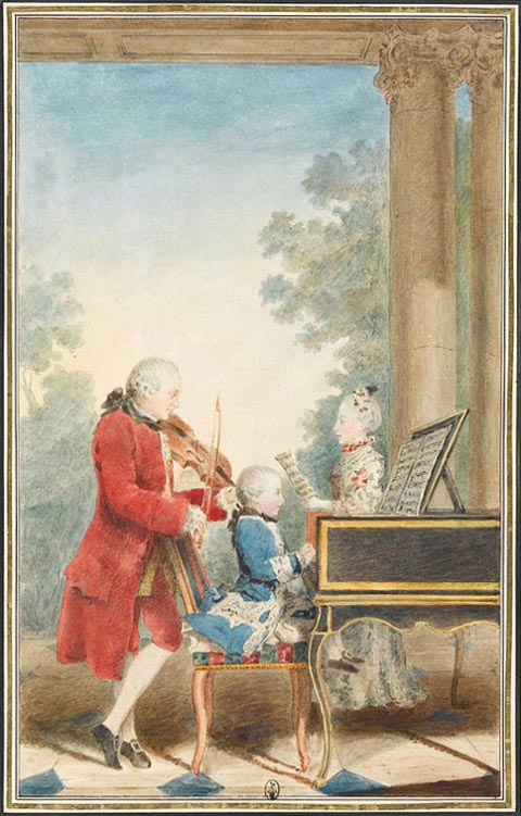 The Mozart family on tour: Leopold, Wolfgang, and Nannerl. Watercolor by Carmontelle, 1763 (public domain)