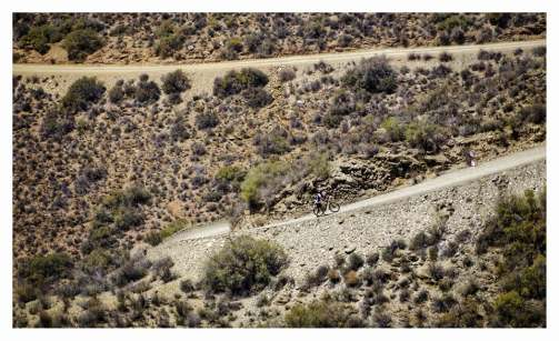 Riders pushing on, on the infamous Heart Break Hill