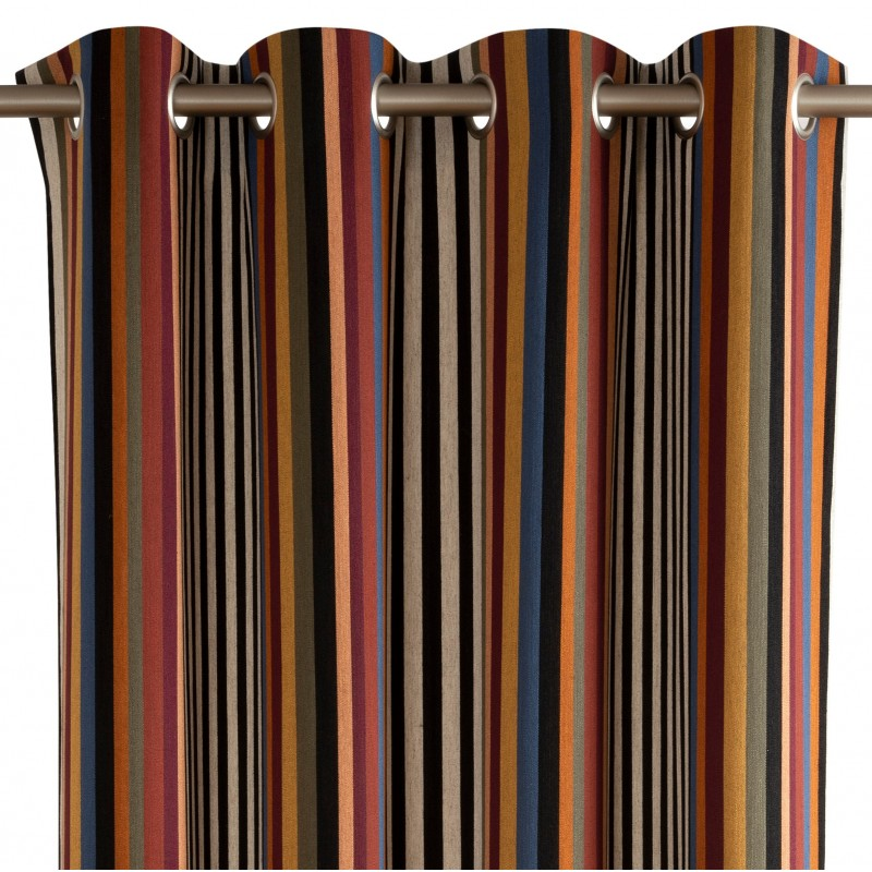 rideau pret a poser a oeillets multicolore pavillon en lin rp 721