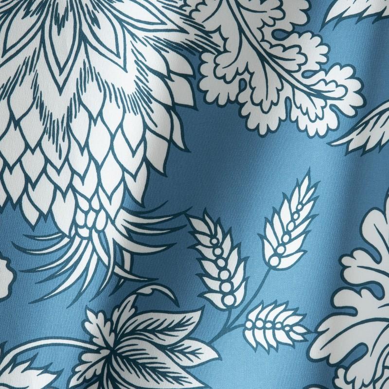 tissu a motif bleu canard pushkar en coton pus411