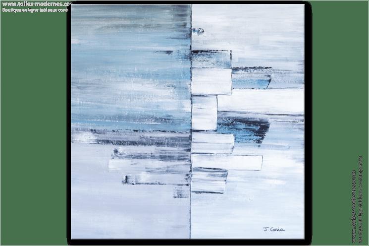 tableau moderne carre gris bleu grand format tableau contemporain carre bleu gris creation