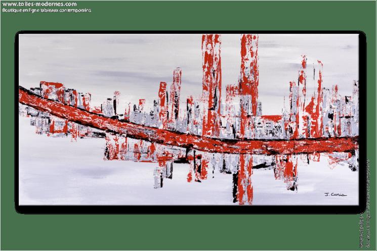 tableau rectangle 50x100cm gris rouge design tableau contemporain gris rouge panoramique