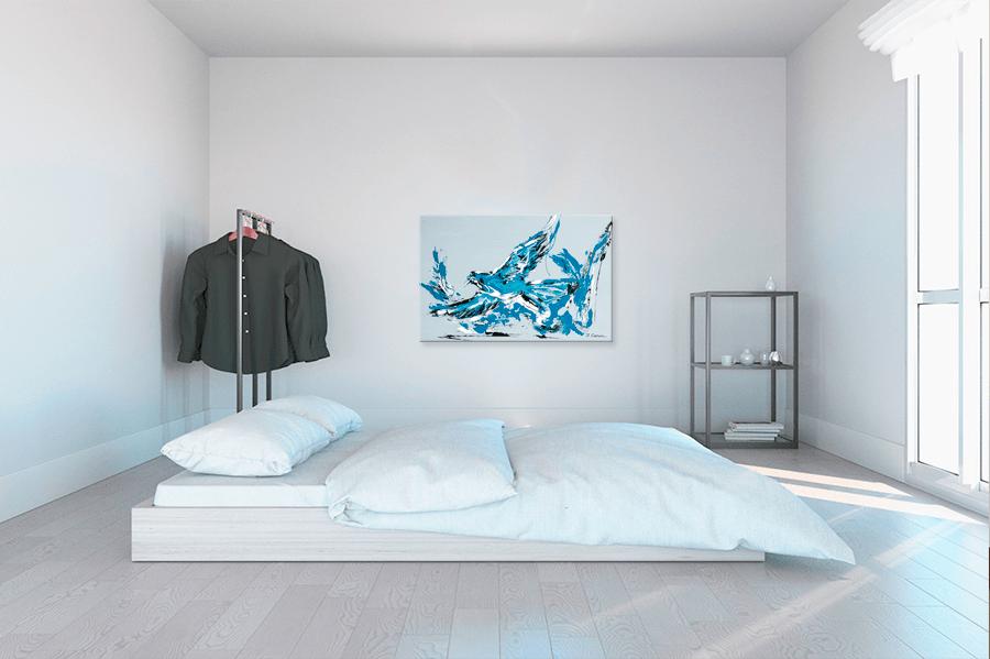 Tableau Abstrait Figuratif Rectangle Bleutableau Moderne