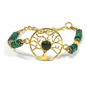 Bracelet arbre de vie avec aventurine verte
