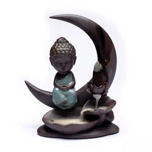 Brûleur d'encens à refoulement Bouddha Lune