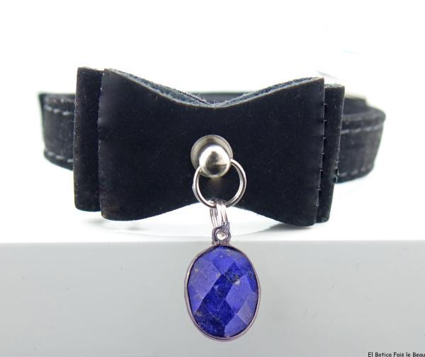 Collier Noir chat en lapis lazuli