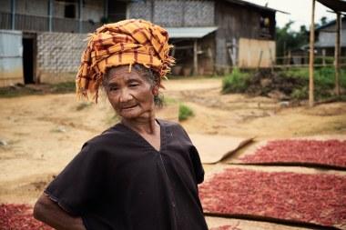 Pripadnica etnične skupine Older Pa'O v vasi blizu Kalawa, Mjanmar