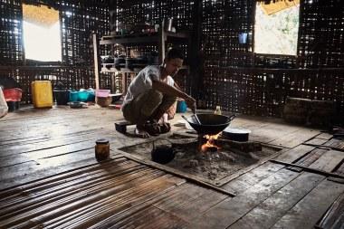 Kosilo na trekingu med Kalawom in jezerom Inle, Mjanmar