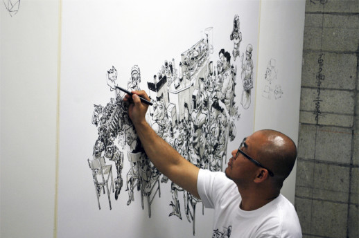 JungGi Kim at work on the second day of the exhibition