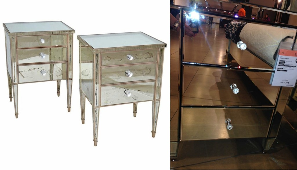 French 1940's Mirrored Night Stands home center new