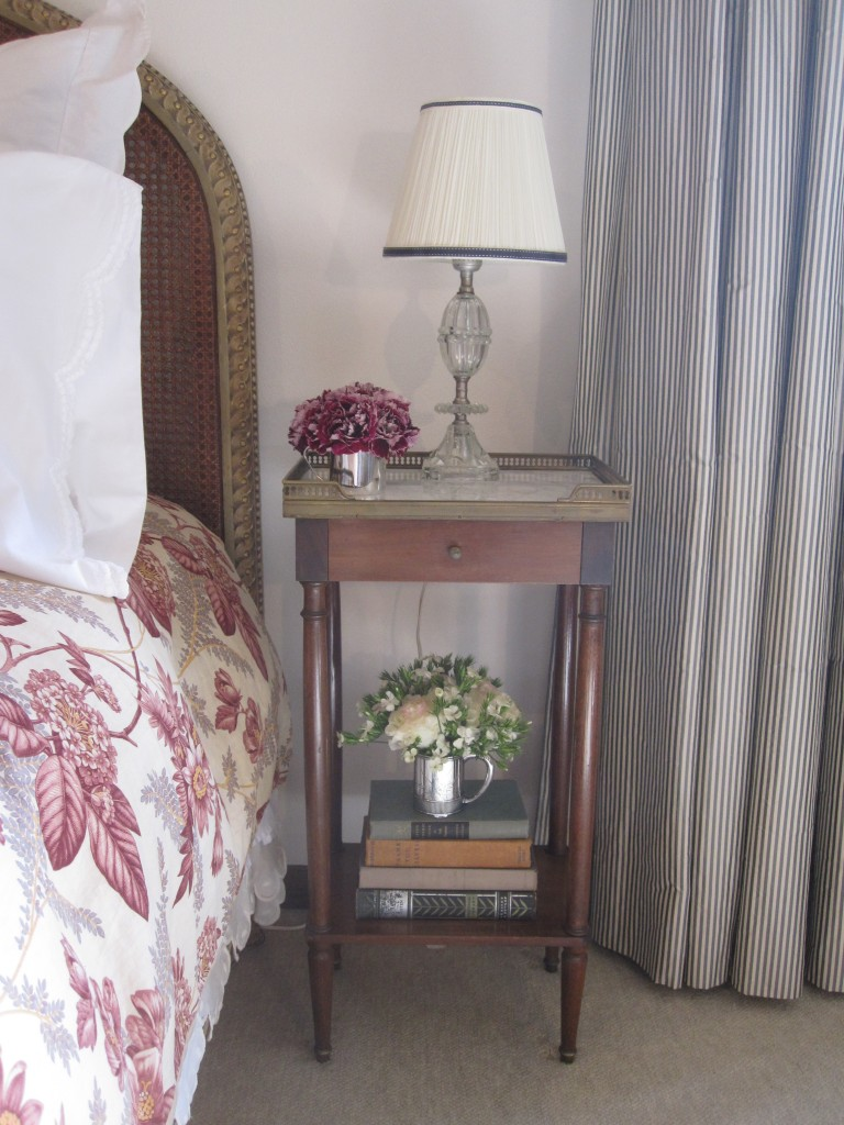 French night stand trimmed lamp striped curtains
