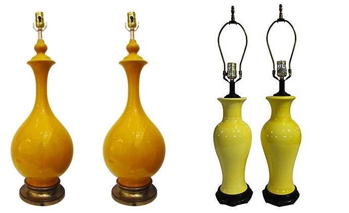 yellow lamp pair palm beach antiques and one kings lane
