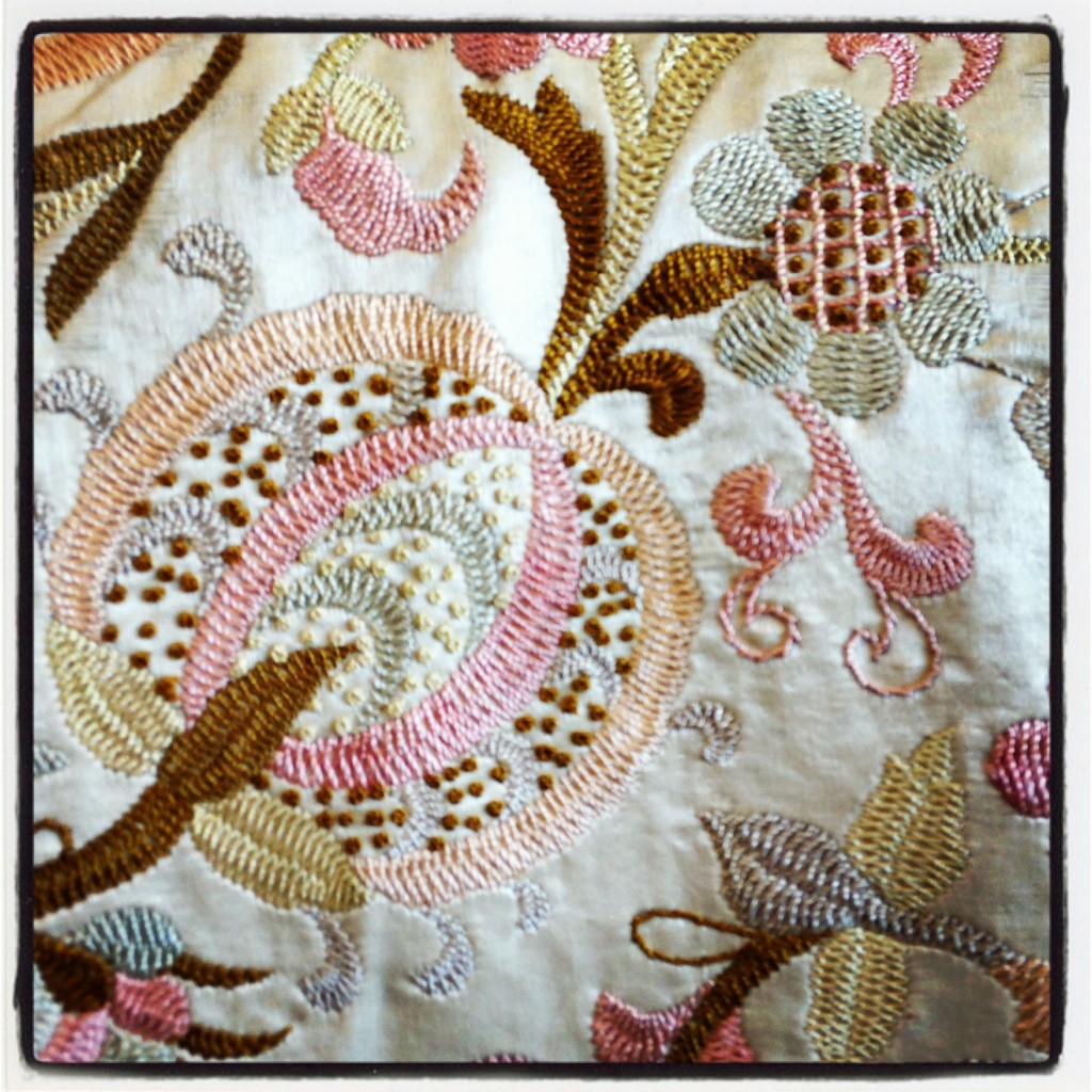 antique embroidered bed cloth pomegranate detail