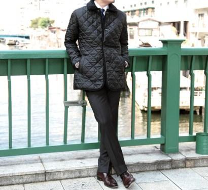 「キルティングジャケット コート 着こなし スーツ」の画像検索結果