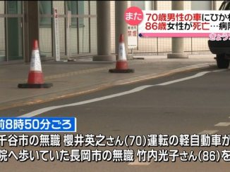 An elderly driver struck an elderly pedestrian who was trying to enter a hospital in Niigata Prefecture (Nippon News Network)